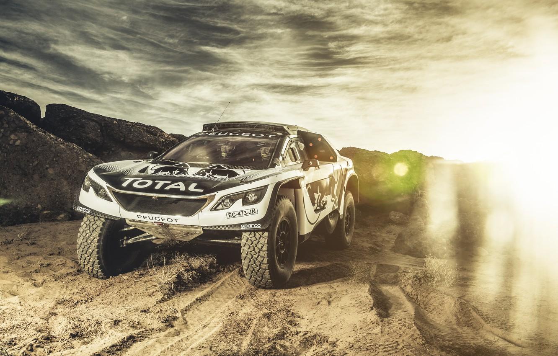 Photo wallpaper The sky, Sand, Sport, Speed, Light, Race, Peugeot, Lights, Red Bull, Rally, Rally, Sport, The …