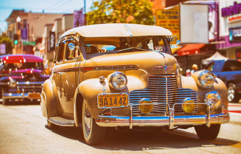 Photo wallpaper auto, retro, street, classic