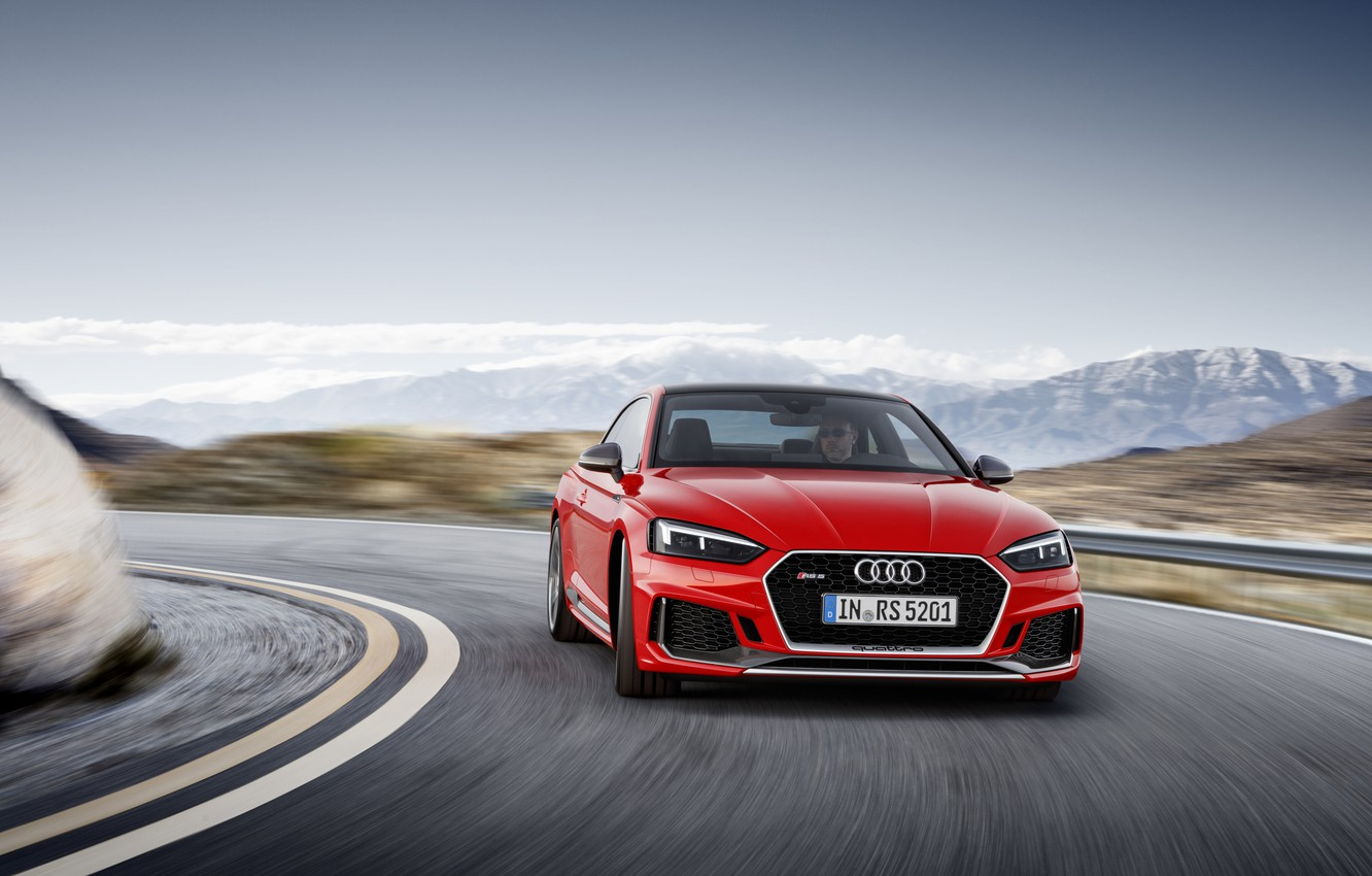 Photo wallpaper Audi, German, Red, Speed, RS5, 2018, Road, Drive, RS, A5