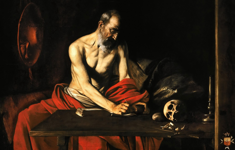 Photo wallpaper picture, religion, Caravaggio, Saint Jerome Writing