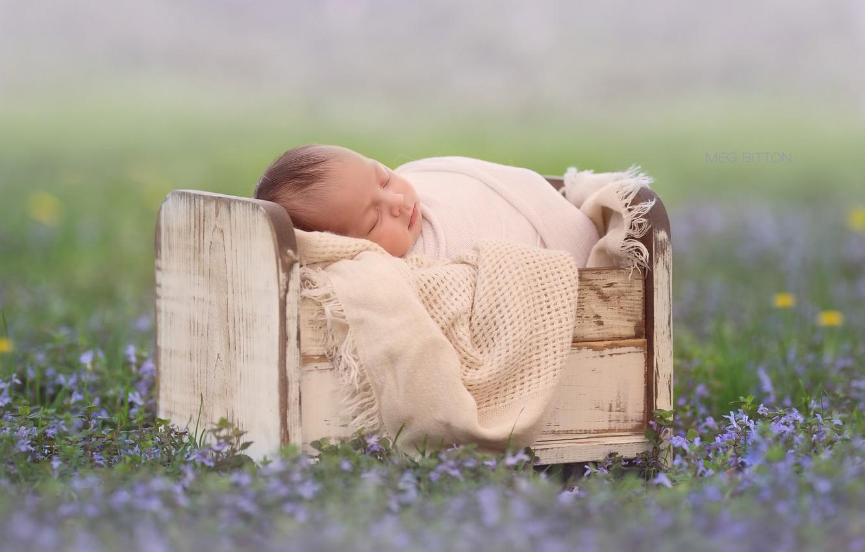 Photo wallpaper flowers, sleep, baby, bokeh, cot, sleep