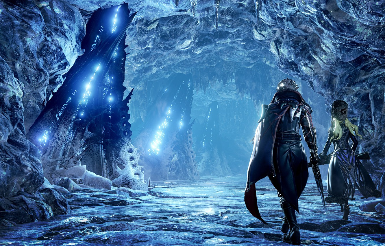 Photo wallpaper Landscape, Vampire, Protagonist, Screenshot, Ice cave, Tyan, The main character, CodeVein, The icy landscape
