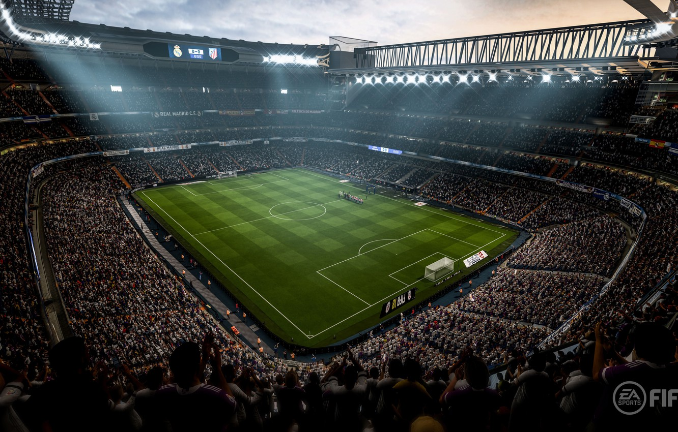 Photo wallpaper sport, grass, stadium, crowd, soccer, Fifa, fans, arena, Fifa 18