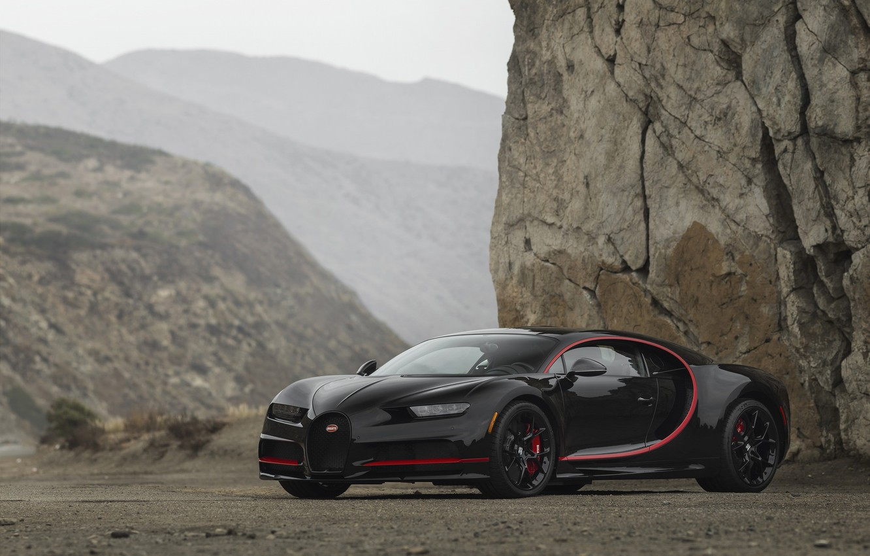 Photo wallpaper Bugatti, Black, Turbo, RED, V16, VAG, Chiron