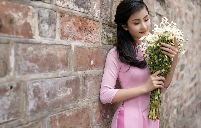 Photo wallpaper girl, flowers, Asian
