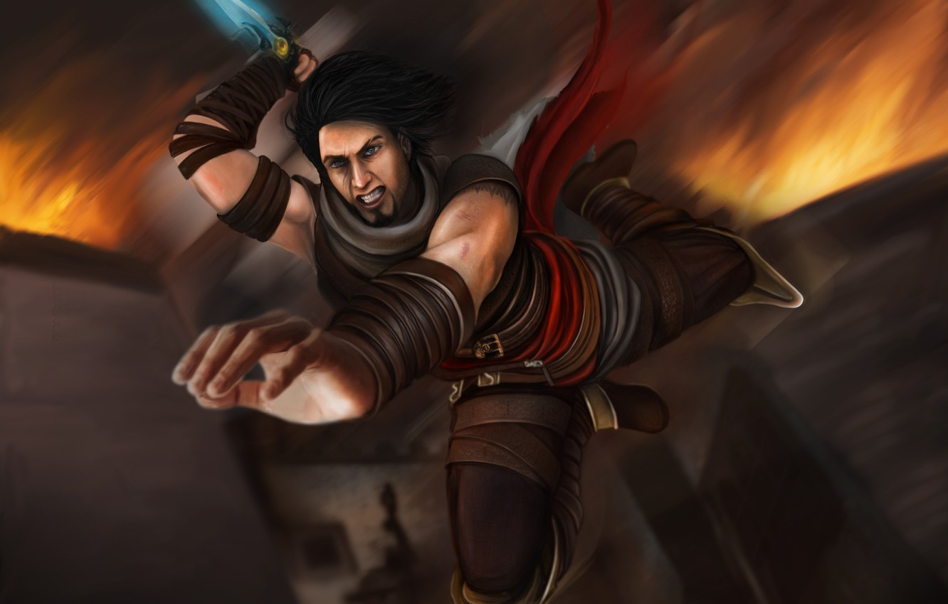 Wallpaper Jump Knife Fan Art Prince Of Persia Warrior Within