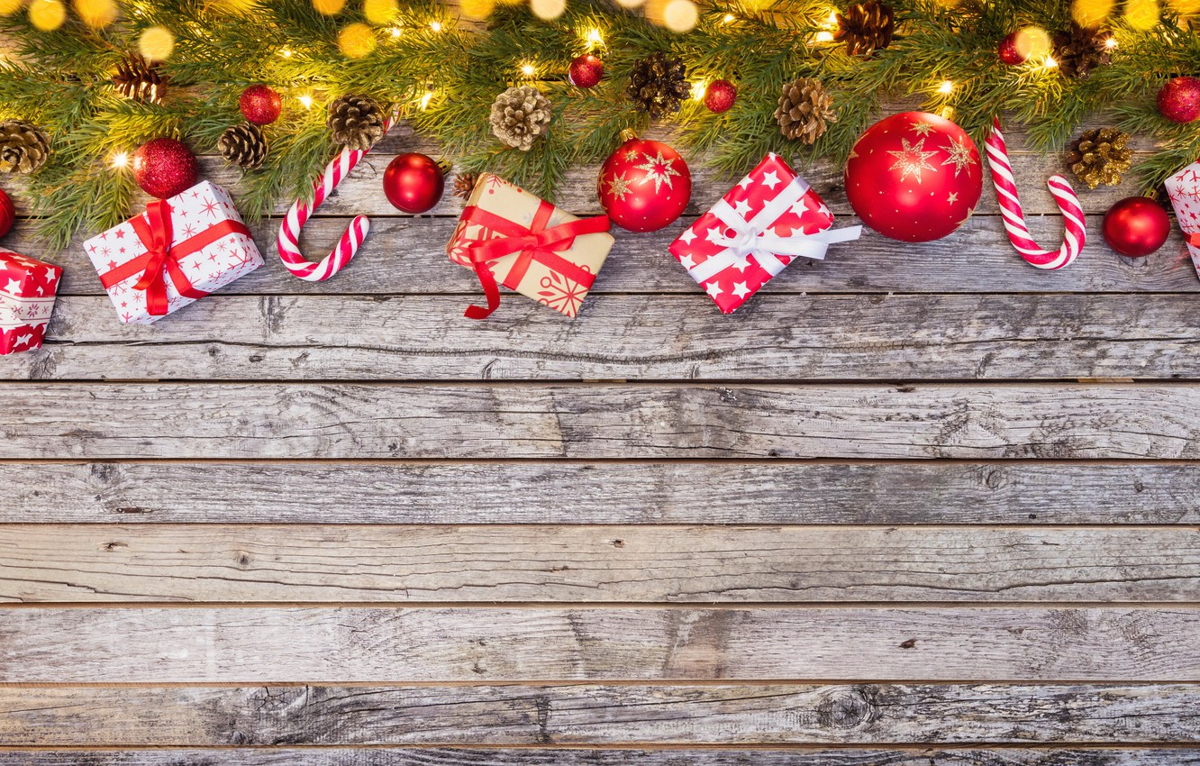 Photo wallpaper New Year, Christmas, wood, merry christmas, decoration, gifts