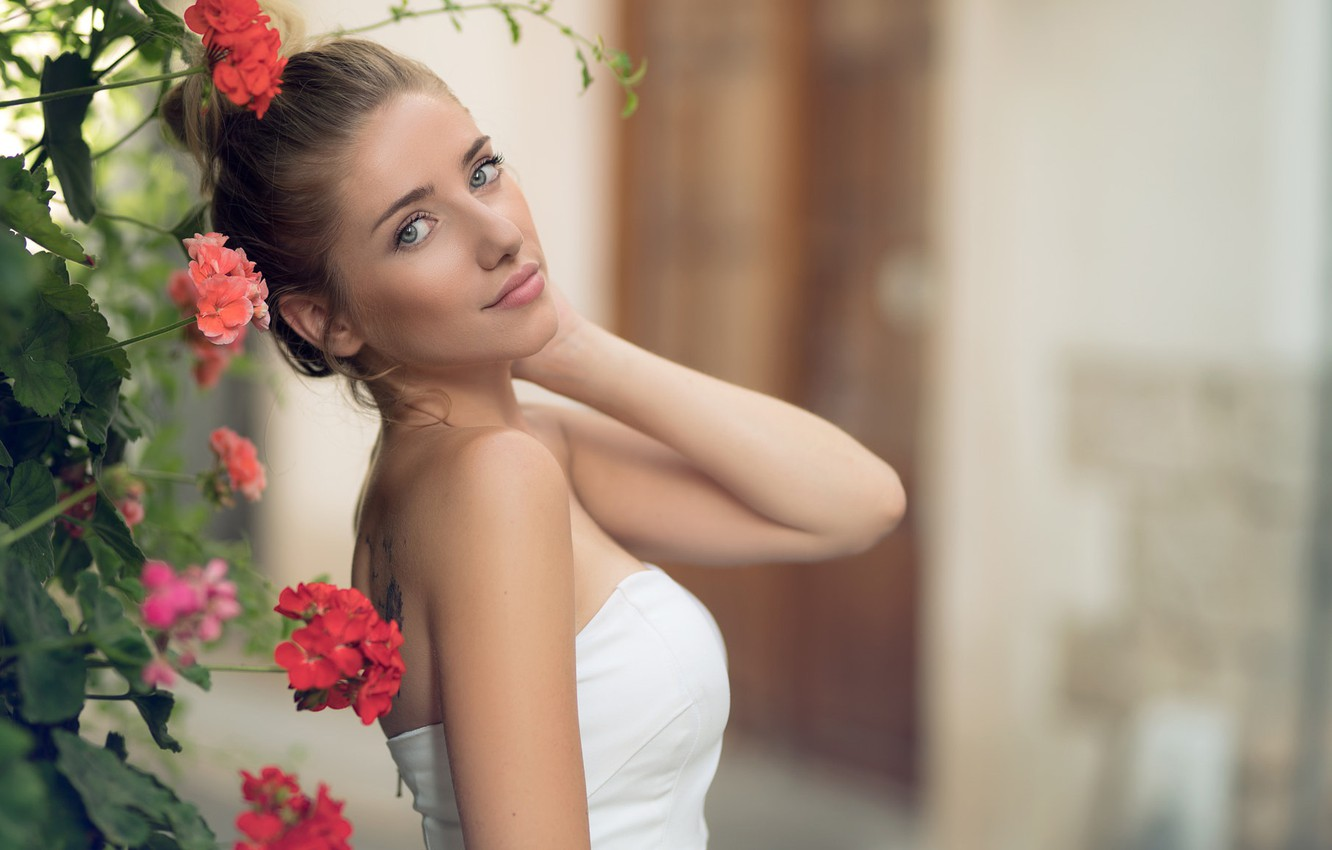 Photo wallpaper girl, Model, dress, photo, brown, blue eyes, flowers, tattoo, lips, face, white top, portrait, mouth, …