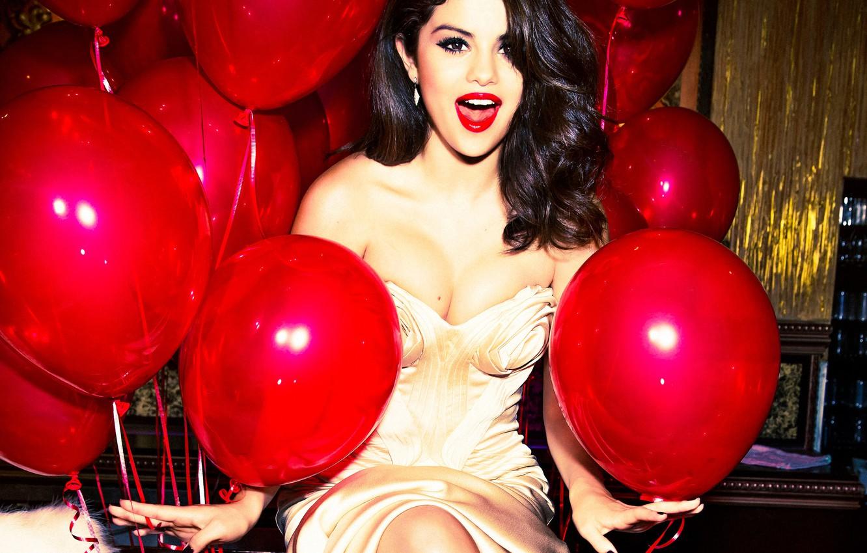 Photo wallpaper balls, joy, pose, makeup, dress, brunette, hairstyle, red, singer, air, beauty, photoshoot, Selena Gomez, Selena …