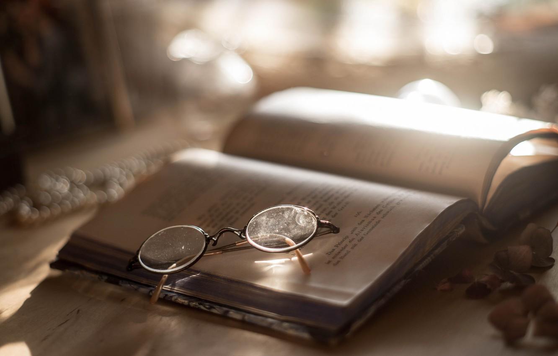 Photo wallpaper background, glasses, book