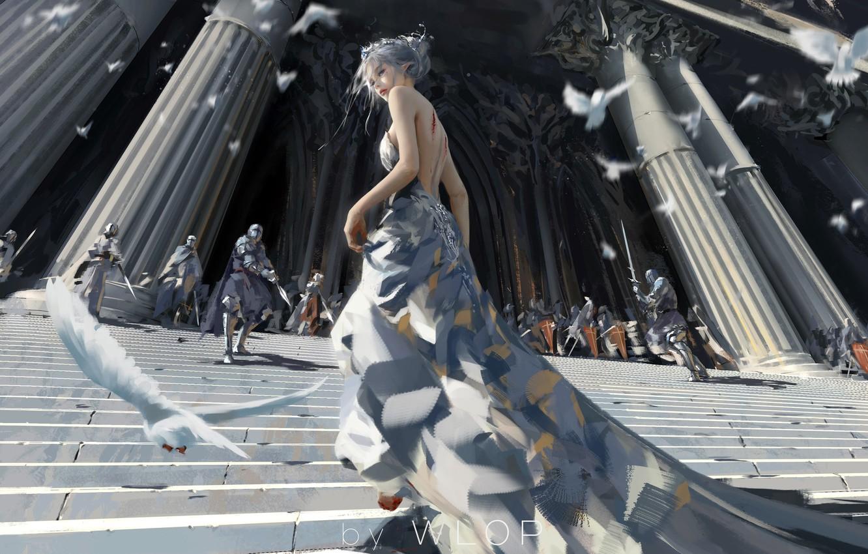Photo wallpaper girl, fantasy, armor, long hair, dress, blue eyes, birds, elf, digital art, knights, artwork, architecture, …