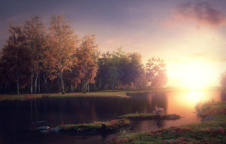 Photo wallpaper rendering, Jonny All, Mystic Lake, Mystic lake