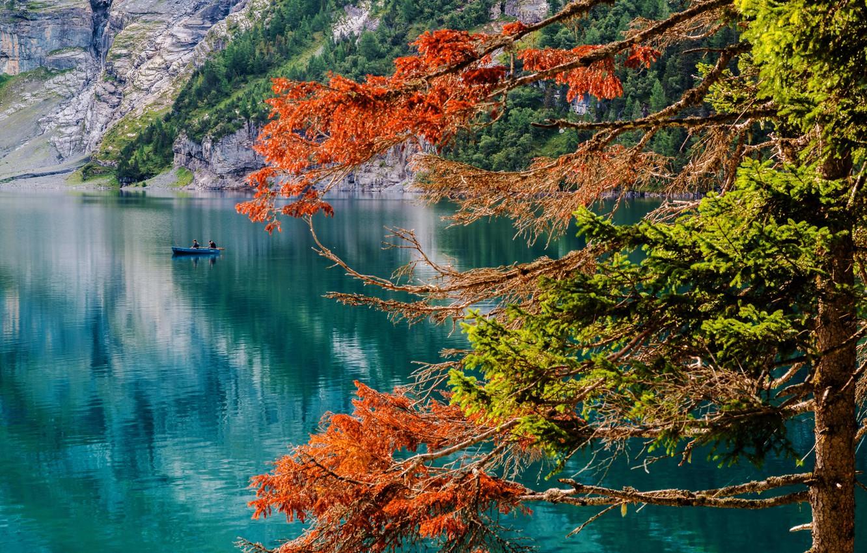 Photo wallpaper autumn, lake, tree, boat, Switzerland, fishermen, Switzerland, lake Asinense, Oeschinen Lake, The Bernese Oberland, Bernese …