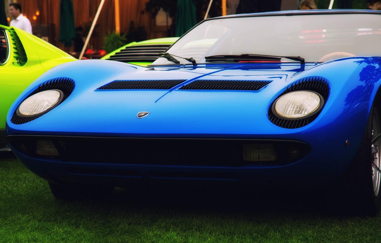 Photo wallpaper Color, Auto, Blue, Lamborghini, Machine, Classic, Eyelashes, Lights, Car, 1967, 1968, Supercar, The front, Lamborghini …