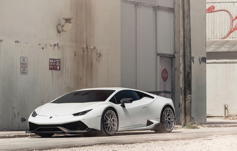 Photo wallpaper Lamborghini, white, Huracan, LP610