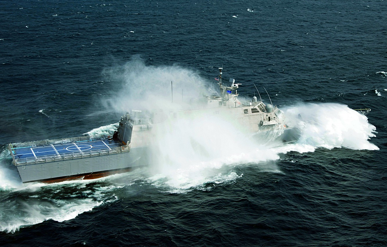 Photo wallpaper wave, storm, the ocean, the littoral combat ship, milwaukee