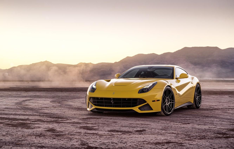 Photo wallpaper landscape, design, desert, yellow, The Ferrari F12