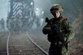 Picture cinema, film, Godzilla, flag, gun, rifle, soldier, movie, weapon, bulletproof vest, man