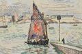 Picture sail, Port Louis, watercolor, Paul Signac, boat, figure