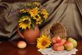 Picture table, basket, apples, sunflower, vase, pear, fruit, still life, peaches, napkin