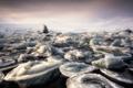 Picture ice, Jökulsárlon Lagoon, fog, sea