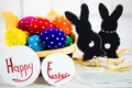 Picture colorful, bunny, Easter, Easter, happy, the painted eggs, spring, holiday, eggs
