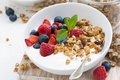 Picture berries, raspberry, Breakfast, milk, blueberries, nuts, muesli