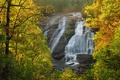 Picture landscape, autumn, trees, rock, waterfall