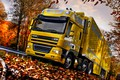 Picture DAF, blur, road, DAF, yellow, the trailer, tractor, the fence, DAF CF85.460, autumn, clouds, Space ...