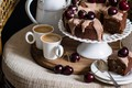 Picture coffee, pie, nuts, cherry, cakes, glaze