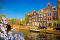 Picture spring, river, flowering, buildings, canal, Netherlands, Amsterdam, blossom, old, Amsterdam, bridge, bridge, spring, flowers