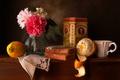 Picture flowers, box, lemon, orange, bread, Cup, still life