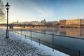 Picture river, promenade, Basel, snow, bridge, Mustermesse, Switzerland, morning