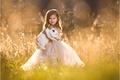 Picture grass, mood, rabbit, dress, meadow, girl