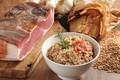 Picture porridge, garlic, fat, bread