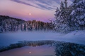 Picture forest, haze, lake, the evening, the moon, nature, winter, snow