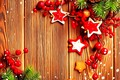 Picture decoration, berries, rendering, fantasy, New Year, stars, picture, spruce branches, wooden boards