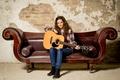 Picture music, guitar, girl, sofa