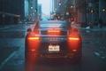 Picture lights, city, 911, rain, road, Porsche 911 Carrera, buldings