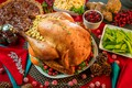 Picture bird, meat, salad, festive table, Turkey, cranberry