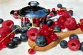 Picture blueberries, red currant, raspberry, berries