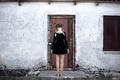 Picture girl, braids, legs, the door, form