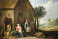 Picture canvas, David Teniers The Younger, oil, A farmer with a Wife and Child at Their ...