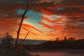 Picture clouds, picture, flag, glow, allegory, Frederic Edwin Church, Our Banner in the Sky