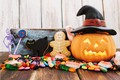 Picture hat, Halloween, holiday, letters, marmalade, pumpkin, cookies, spider