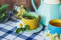 Picture lemon, tea, Daisy, Cup, lemon, grass, wood, cup, tea, herbal