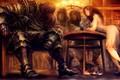 Picture girl, fantasy, soldier, armor, Warrior, dog, men, digital art, artwork, table, fantasy art, knight, bottle, ...