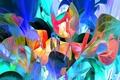Picture abstraction, line, paint, petals, flowers
