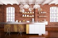 Picture style, table, wall, interior, brick, window, kitchen, dishes, Design, Interior, Kitchen