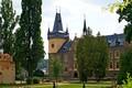 Picture summer, the sun, trees, castle, lawn, Czech Republic, benches, Castle Zruc nad Sazavou